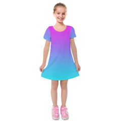 Fuschia Turquoise Dream Kids  Short Sleeve Velvet Dress by retrotoomoderndesigns