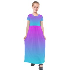 Fuschia Turquoise Dream Kids  Short Sleeve Maxi Dress by retrotoomoderndesigns