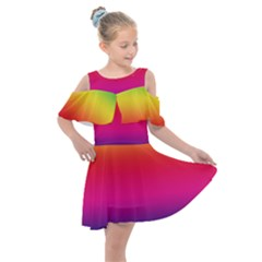 Neon Bright Rainbow Kids  Shoulder Cutout Chiffon Dress