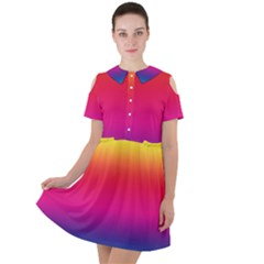 Neon Bright Rainbow Short Sleeve Shoulder Cut Out Dress