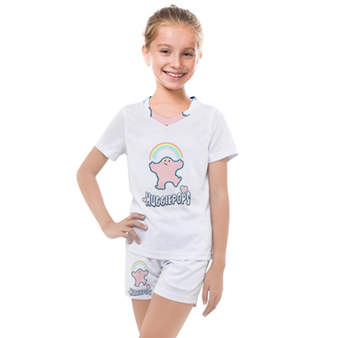 Huggiepops Rainbow   Title   By Larenard Studios Kids  Mesh Tee And Shorts Set by LaRenard
