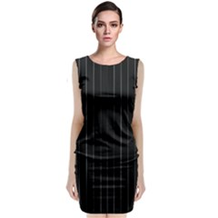 Dark Linear Abstract Print Classic Sleeveless Midi Dress by dflcprintsclothing