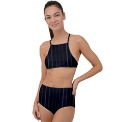 Dark Linear Abstract Print High Waist Tankini Set