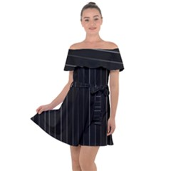 Dark Linear Abstract Print Off Shoulder Velour Dress by dflcprintsclothing