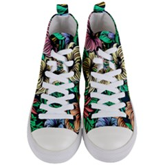 Hibiscus Dream Women s Mid Top Canvas Sneakers