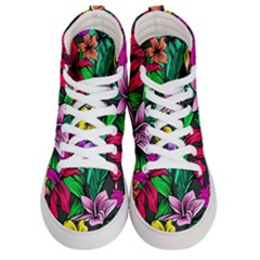 Neon Hibiscus Men s Hi Top Skate Sneakers