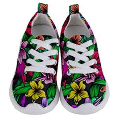 Neon Hibiscus Kids  Lightweight Sports Shoes