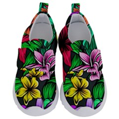 Neon Hibiscus Kids  Velcro No Lace Shoes