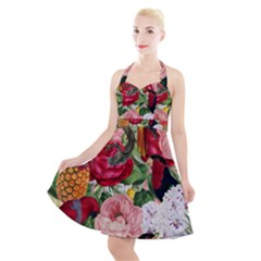 Tropical Bird Floral Halter Party Swing Dress