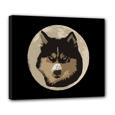 Husky Moon Deluxe Canvas 24  X 20  (stretched) by snowwhitegirl