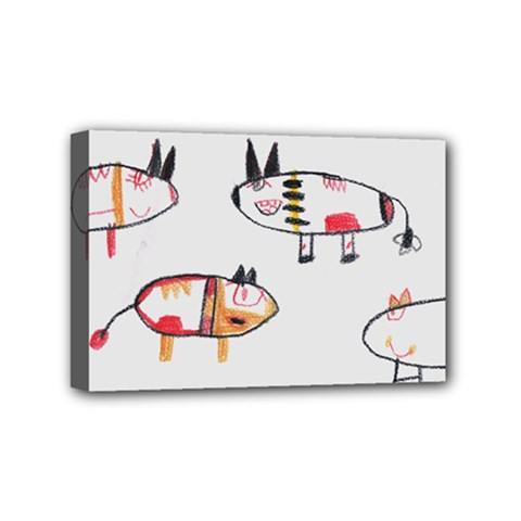 Children Children Drawing Flock Mini Canvas 6  X 4  (stretched) by Pakrebo