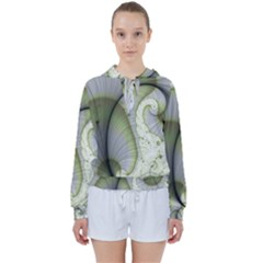 Graphic Fractal Eddy Curlicue Leaf Women s Tie Up Sweat