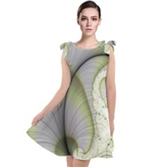 Graphic Fractal Eddy Curlicue Leaf Tie Up Tunic Dress by Pakrebo
