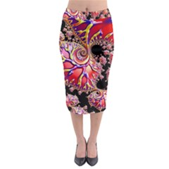 Fractals Colorful Pattern Midi Pencil Skirt