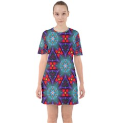 Ornament Colorful Background Color Sixties Short Sleeve Mini Dress