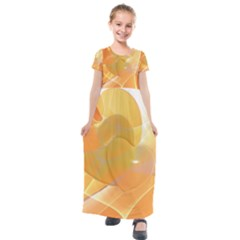 Lines Wave Heart Love Smile Kids  Short Sleeve Maxi Dress by Pakrebo
