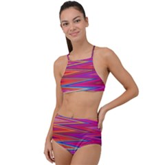 Seamless Digital Tile Texture High Waist Tankini Set by Pakrebo