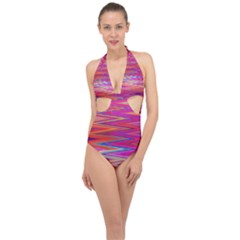 Seamless Digital Tile Texture Halter Front Plunge Swimsuit by Pakrebo