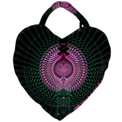 Fractal Traditional Fractal Hypnotic Giant Heart Shaped Tote