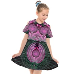 Fractal Traditional Fractal Hypnotic Kids  Short Sleeve Shirt Dress