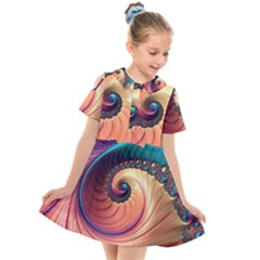 Fractal Multi Colored Fantasia Kids  Short Sleeve Shirt Dress