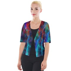 Wizzard Flashes Pattern Abstract Cropped Button Cardigan