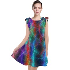 Wizzard Flashes Pattern Abstract Tie Up Tunic Dress