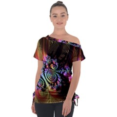 Fractal Colorful Background Tie Up Tee