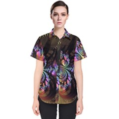 Fractal Colorful Background Women s Short Sleeve Shirt
