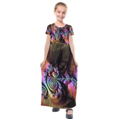 Fractal Colorful Background Kids  Short Sleeve Maxi Dress