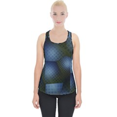 Fractal Rendering Background Green Piece Up Tank Top