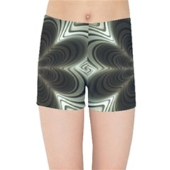 Fractal Silver Waves Texture Kids  Sports Shorts