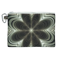 Fractal Silver Waves Texture Canvas Cosmetic Bag (xl)