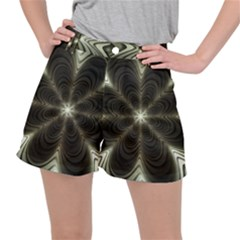Fractal Silver Waves Texture Stretch Ripstop Shorts