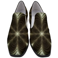 Fractal Silver Waves Texture Slip On Heel Loafers