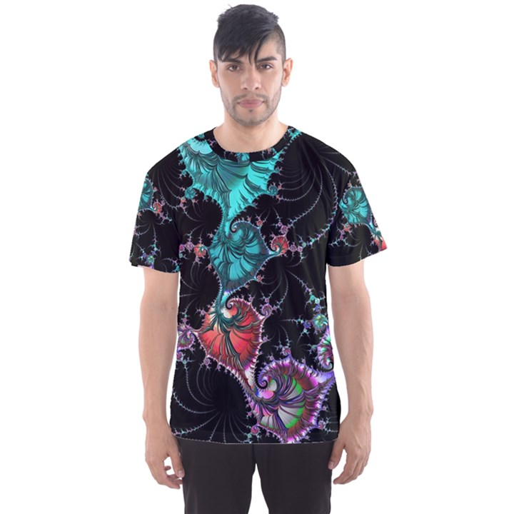 Fractal Colorful Abstract Aesthetic Men s Sports Mesh Tee