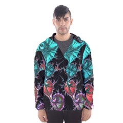 Fractal Colorful Abstract Aesthetic Hooded Windbreaker (men) by Pakrebo