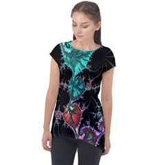 Fractal Colorful Abstract Aesthetic Cap Sleeve High Low Top