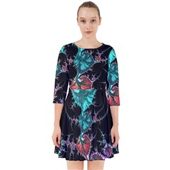 Fractal Colorful Abstract Aesthetic Smock Dress by Pakrebo