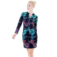 Fractal Colorful Abstract Aesthetic Button Long Sleeve Dress