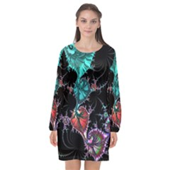 Fractal Colorful Abstract Aesthetic Long Sleeve Chiffon Shift Dress