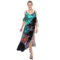 Fractal Colorful Abstract Aesthetic Maxi Chiffon Cover Up Dress