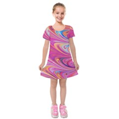 Seamless Digital Tile Texture Kids  Short Sleeve Velvet Dress