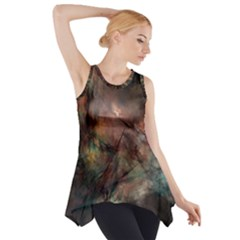 Abstract Fractal Digital Backdrop Side Drop Tank Tunic