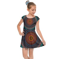 Ornament Circle Picture Colorful Kids  Cap Sleeve Dress by Pakrebo