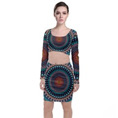 Ornament Circle Picture Colorful Top And Skirt Sets