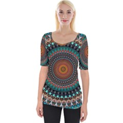 Ornament Circle Picture Colorful Wide Neckline Tee
