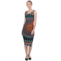 Ornament Circle Picture Colorful Sleeveless Pencil Dress