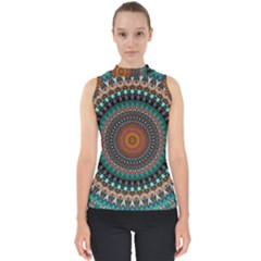 Ornament Circle Picture Colorful Mock Neck Shell Top