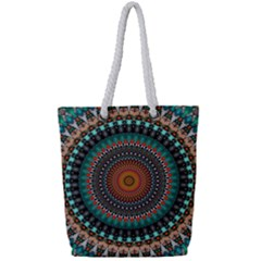 Ornament Circle Picture Colorful Full Print Rope Handle Tote (small)